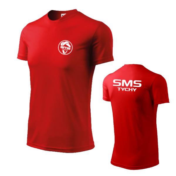 Koszulka czerwona przód+tył logo szkoły