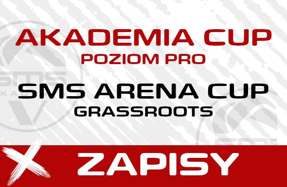 Grafika do zapisów do turniejow Akademia Cup PRO oraz SMS Arena Cup Grassroots